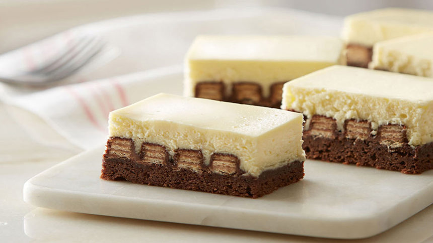 Kit Kat Cheese Cake Bars with Brownie Bottom